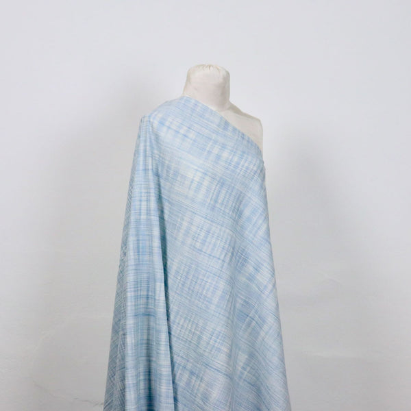 blue and white checked handloom cotton fabric
