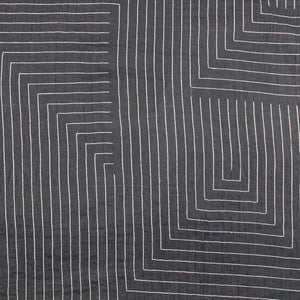 Handloom Cotton Fabric Black with White Lines