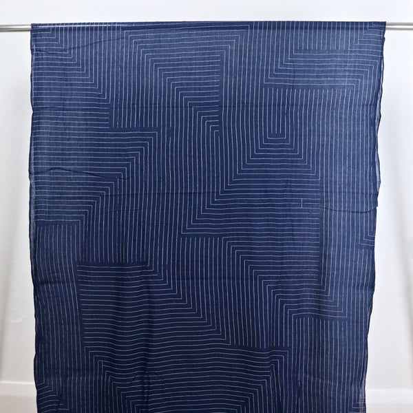 Handwoven Cotton Fabric Blue Labyrinth