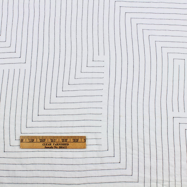 Handwoven Cotton Fabric White with Black Labyrinth