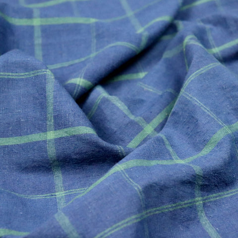 natural indigo blue check fabric