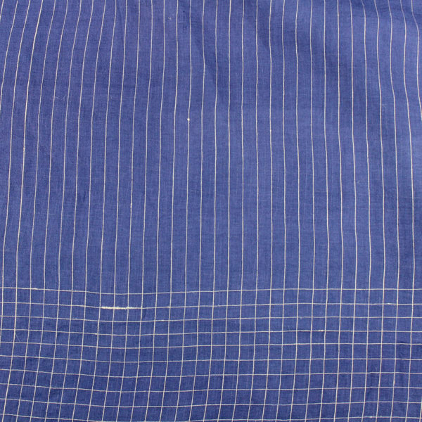 Deep Indigo Stripe and Grid Handloom Cotton — 1.5 Yard Remnant