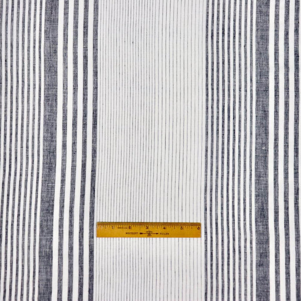 black and white striped linen eco-conscious sewing fabric by the yard