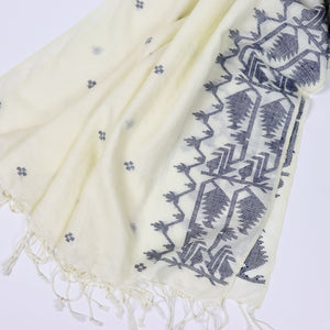 handloom jamdani wool shawl with indigo leaf design