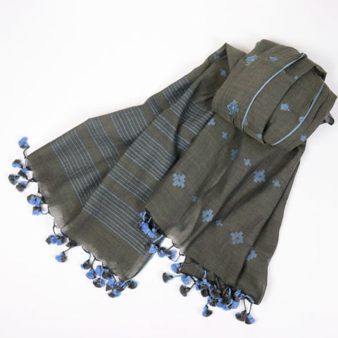 indigo and gray handwoven cotton scarf