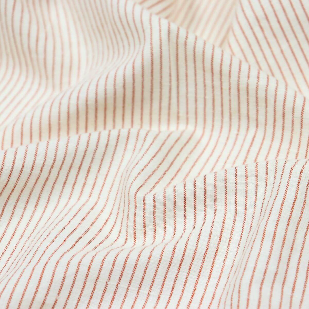 warm toned handloom striped cotton fabric