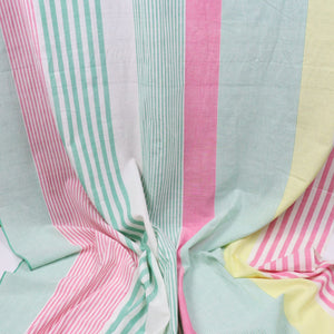 Swatch — All Sorts of Stripes Handloom Cotton — Peony