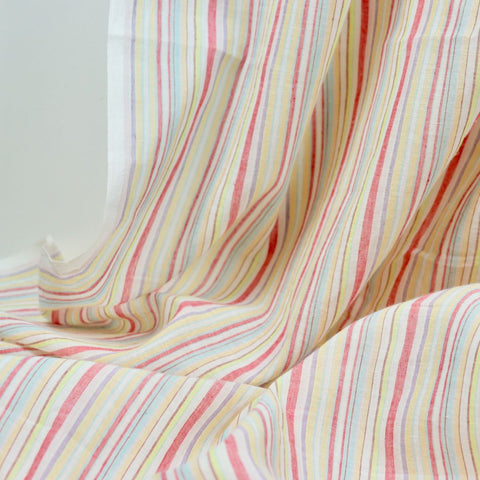 pastel stripes khadi cotton voile fabric