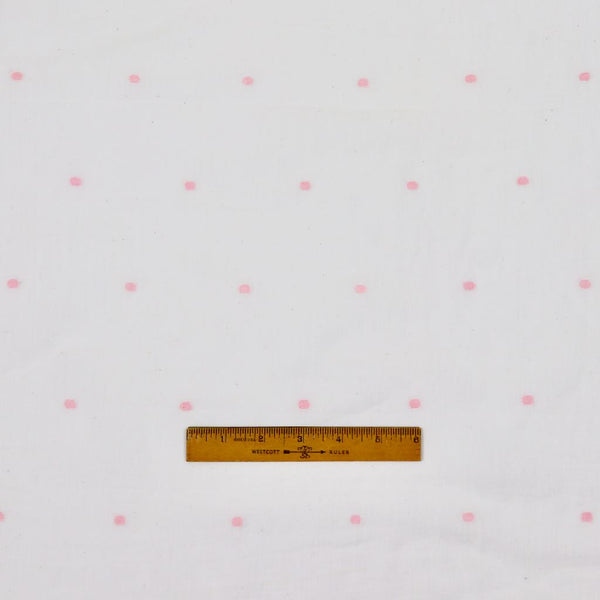 pink dots on white cotton jamdani fabric
