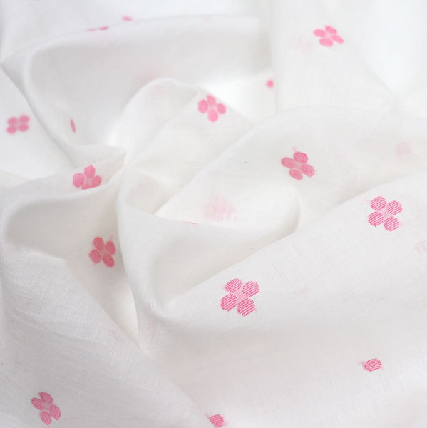 Pink Flower Jamdani Handwoven Cotton Fabric