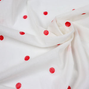 Red Polka Dots Cotton Handloom Jamdani Fabric