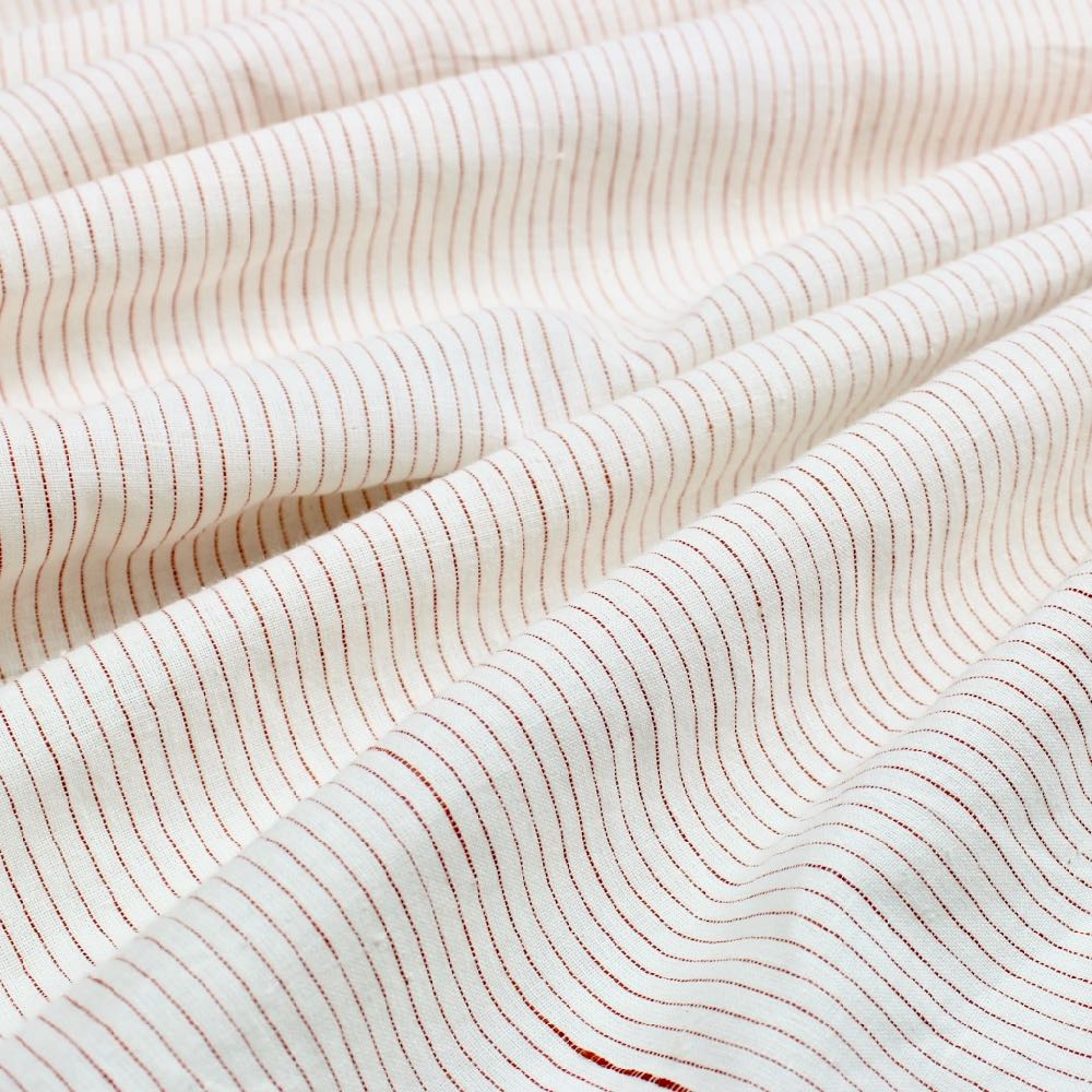 Red Thread Stripe Handloom Khadi Cotton Fabric