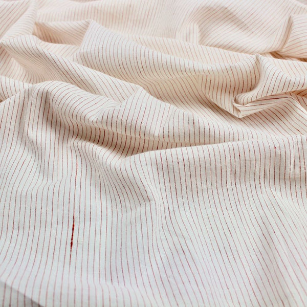 Swatch - Red Thread Stripe Handloom Khadi Cotton