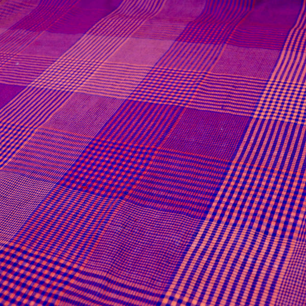 red violet checked handwoven cotton fabric