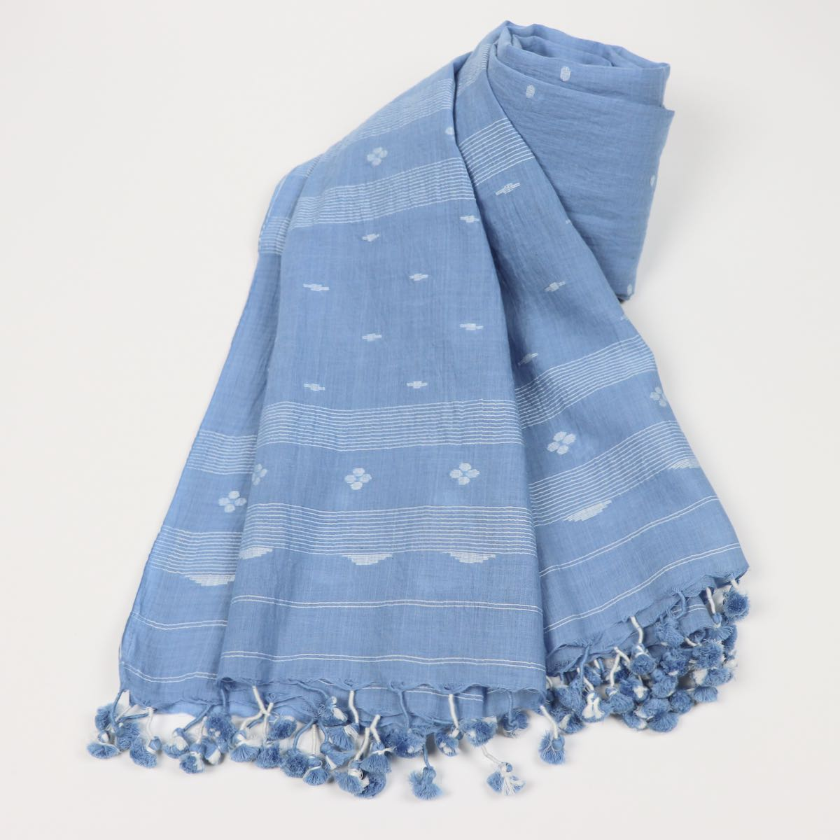 sky blue slow fashion handwoven scarf