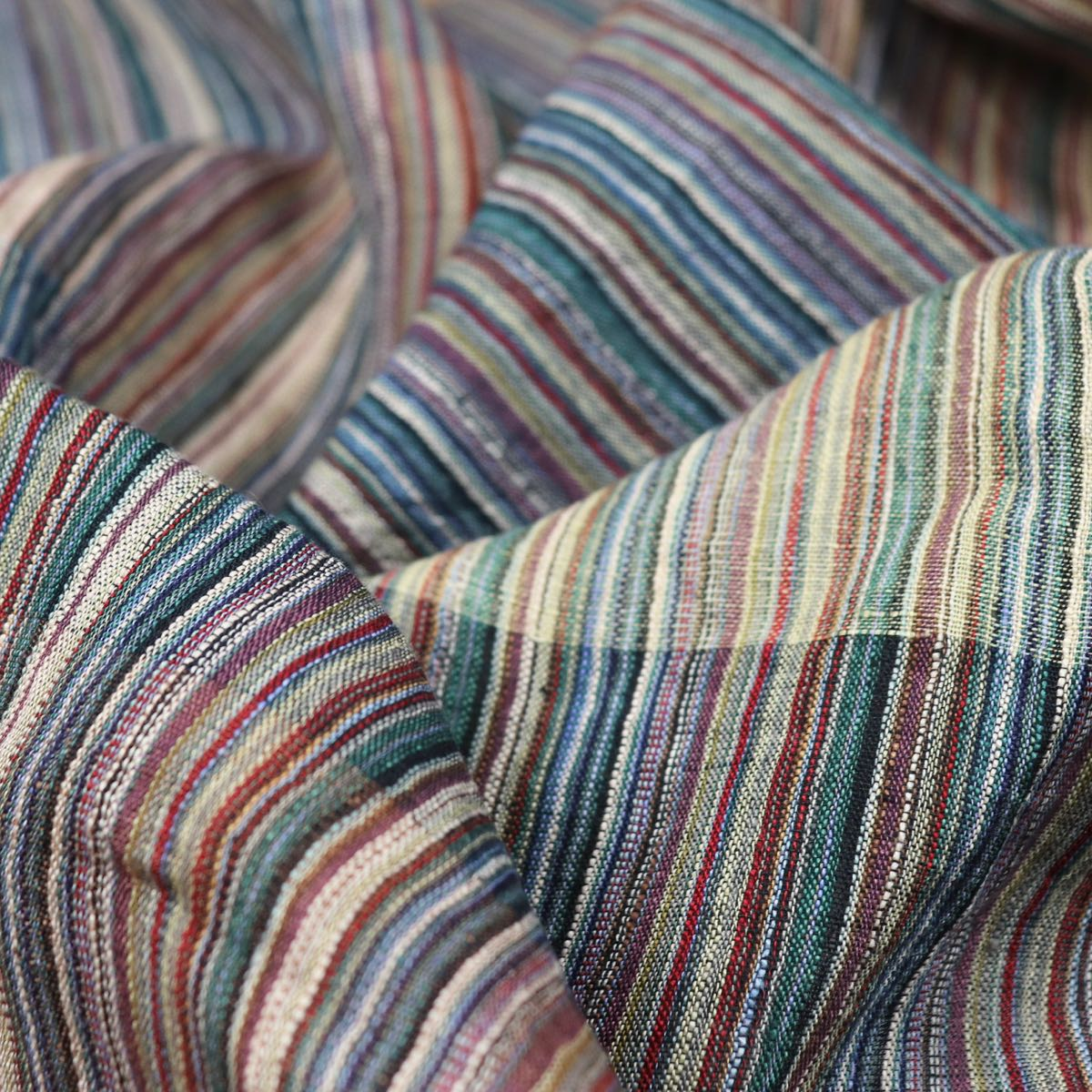 spice brown striped linen handwoven fabric