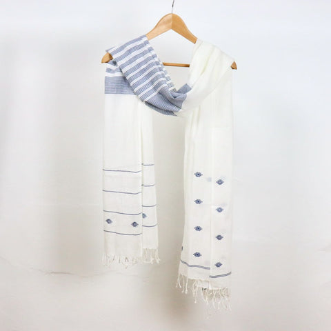 indigo striped jamdani cotton scarf