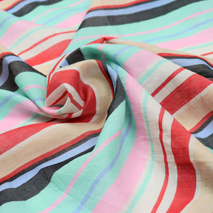 Bright Stripes Handloom Cotton Silk — 2.75 Yard Remnant — Slightly Imperfect