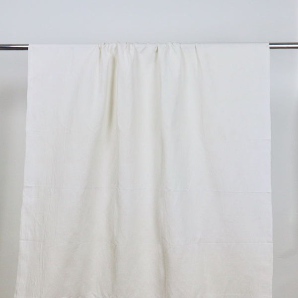 white linen cotton blend twill handwoven fabric