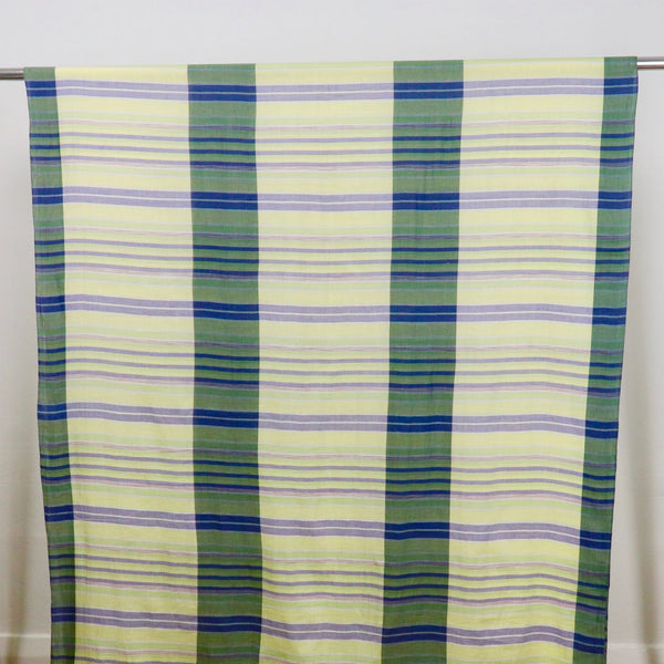 yellow checked handwoven cotton fabric
