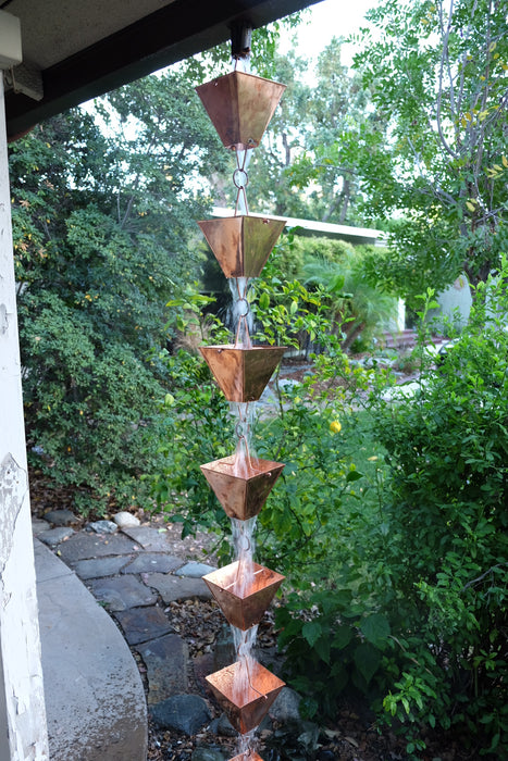 Extra large square cup solid copper rain chain high quality