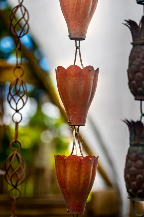 Pure solid copper scallop lily cup rain chain extra large high water flow best quality