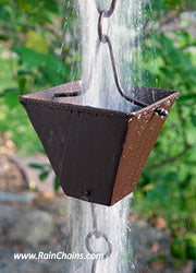 Extra Large Square Cup Hand Made Solid Copper Rain Chain