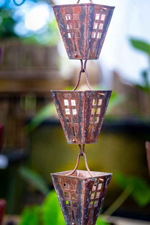 solid copper square cup rainchain arts and crafts