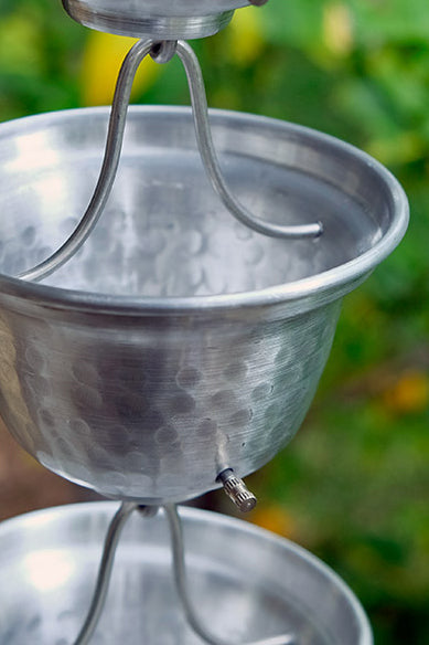 Aluminum hand hammered bell cup rain chain