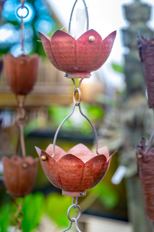 Solid Copper hand hammered lotus cup rain chain aged patina high quality