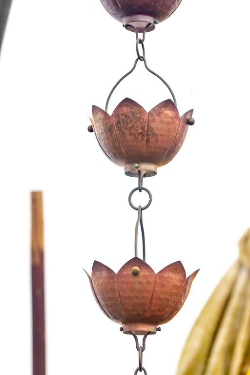 Solid Copper hand hammered lotus cup rain chain aged patina highest quality