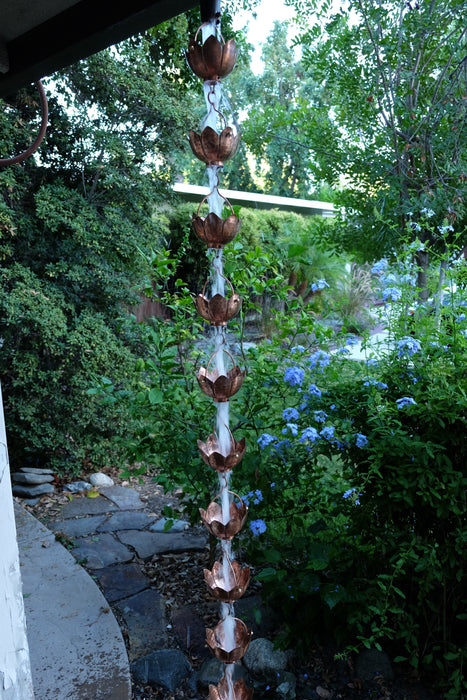 Solid Copper hand hammered lotus cup rain chain high quality