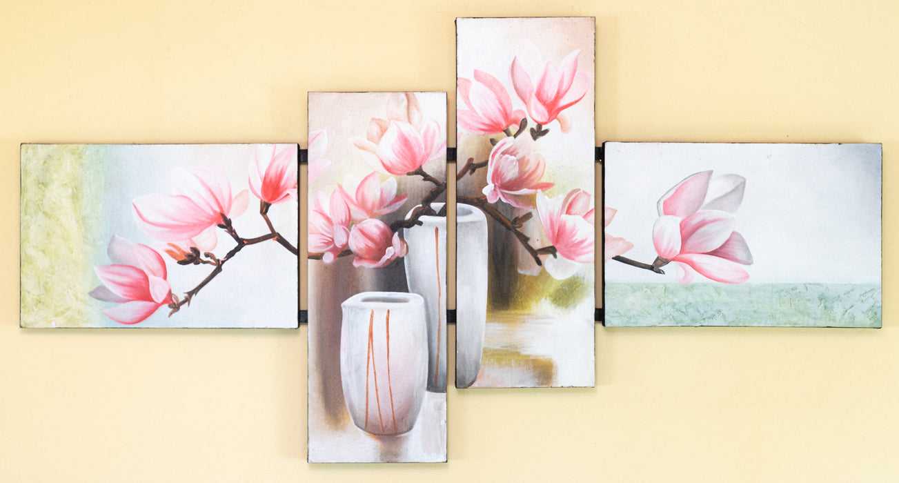 flowers cherry blossom pink still life original oil painting cluster wall art pastel
