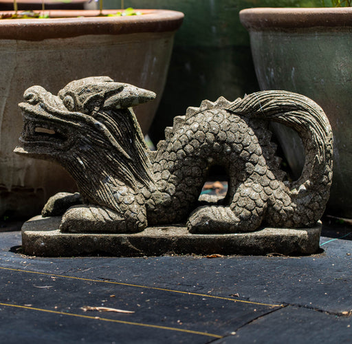 hand carved stone Chinese dragon Indonesian