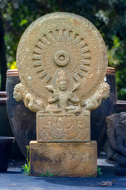 large Buddhist Hindu Dharma Wheel hand carved for sale