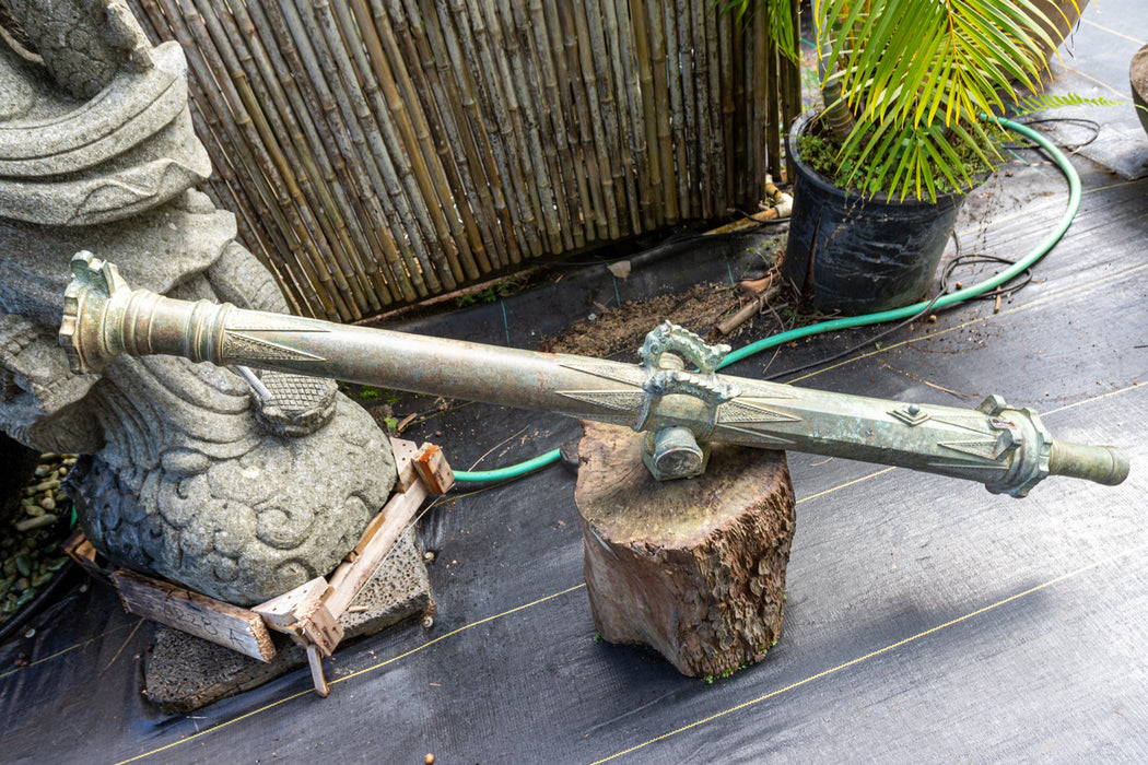 antique indonesian brass cannon black powder