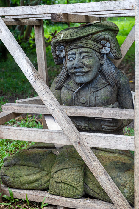 hand carved stone balinese greeter garden outdoor statue
