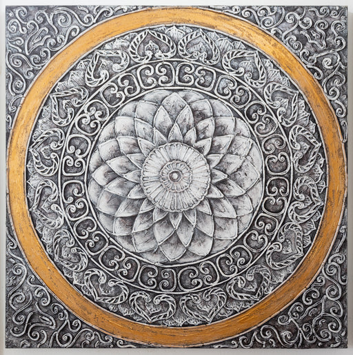 mandala gold white impasto painting original canvas oil black artwork