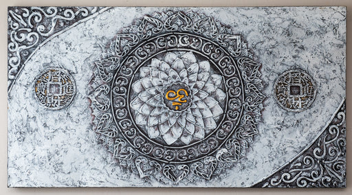 ohm mandala original oil painting canvas Chinese symbol black white gold
