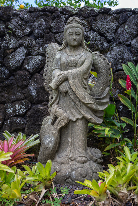 Guan Yin statue dragon wrapped on cloud with vase pouring goddess of compassion Vase Stone Statue Standing Ready to Ship Quan Yin Made to Order Lotus Limestone Lavastone Kwan Yin Indonesian Hindu Hand Carved Guanyin Greenstone Green Stone Goddess Flower Female Dragon Currently on Kauai Buddhist Bluestone Andesite