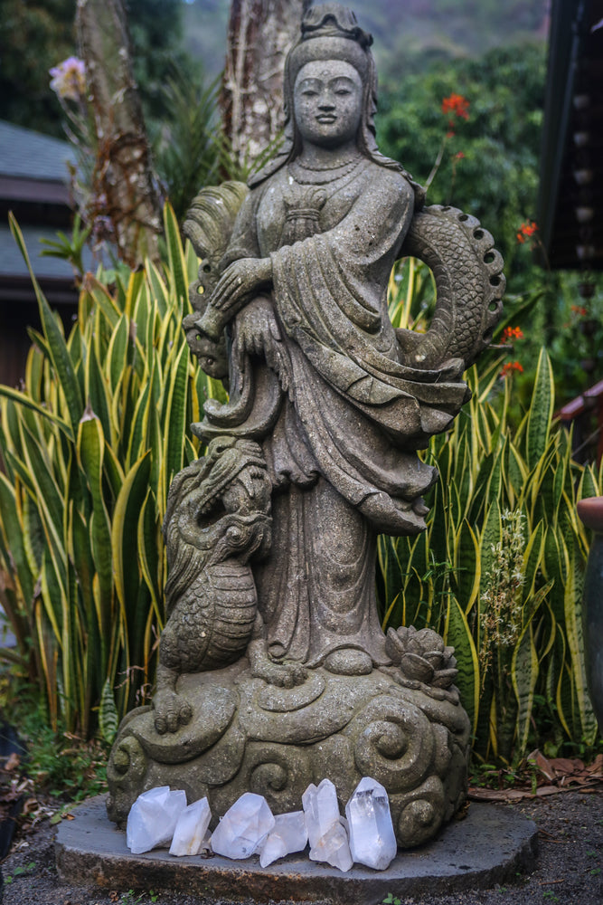 "Quan Yin hand carved stone statue 66"" Indonesian Andisite Vase Stone Statue Standing Ready to Ship Quan Yin Made to Order Lotus Limestone Lavastone Kwan Yin Indonesian Hindu Hand Carved Guanyin Greenstone Green Stone Goddess Flower Female Dragon Currently on Kauai Buddhist Bluestone Andesite"