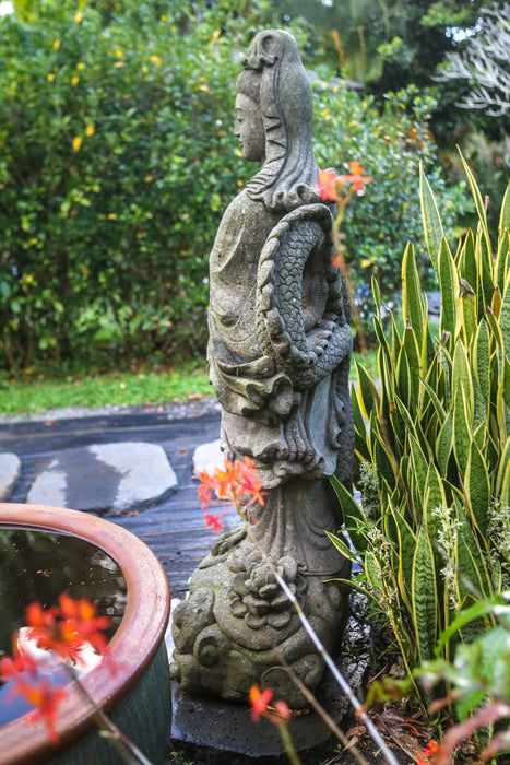 Custom Indonesian hand carved stone Quan Yin with Dragon Lotus cloud statue