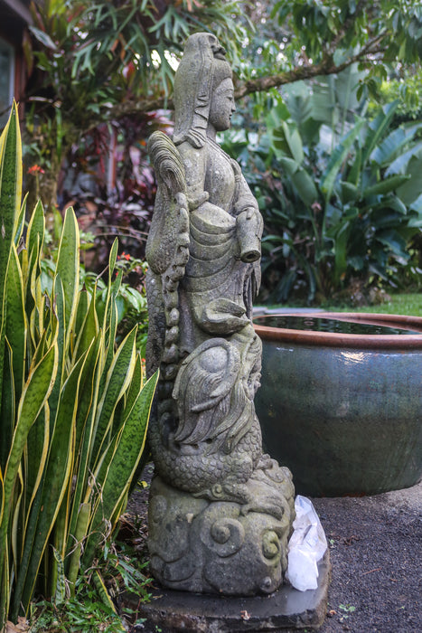 "Quan Yin hand carved stone statue 66"" Indonesian best quality for sale"
