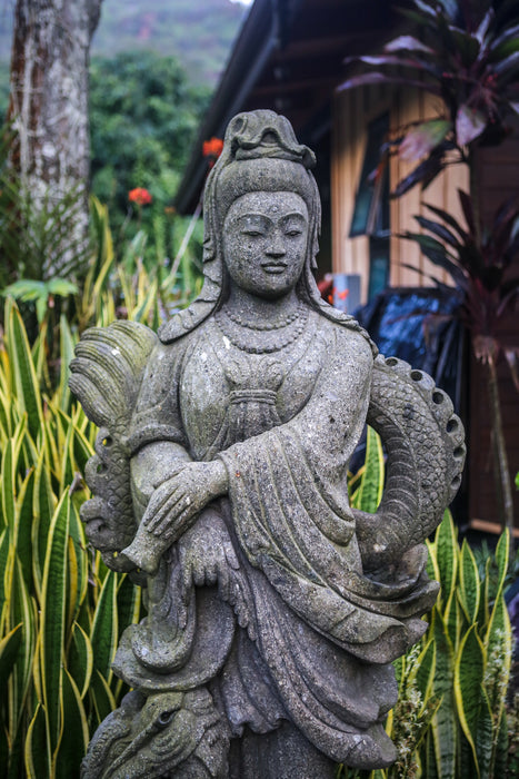 Quan Yin holding vase dragon statue hand carved Indonesian Vase Stone Statue Standing Ready to Ship Quan Yin Made to Order Lotus Limestone Lavastone Kwan Yin Indonesian Hindu Hand Carved Guanyin Greenstone Green Stone Goddess Flower Female Dragon Currently on Kauai Buddhist Bluestone Andesite