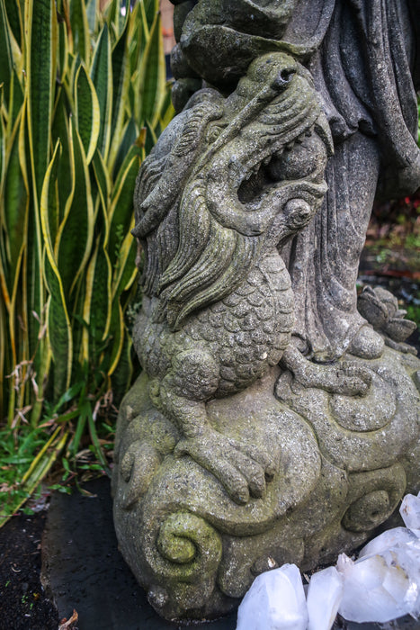 dragon on cloud ball in mouth quan yin statue hand carved indonesian Vase Stone Statue Standing Ready to Ship Quan Yin Made to Order Lotus Limestone Lavastone Kwan Yin Indonesian Hindu Hand Carved Guanyin Greenstone Green Stone Goddess Flower Female Dragon Currently on Kauai Buddhist Bluestone Andesite