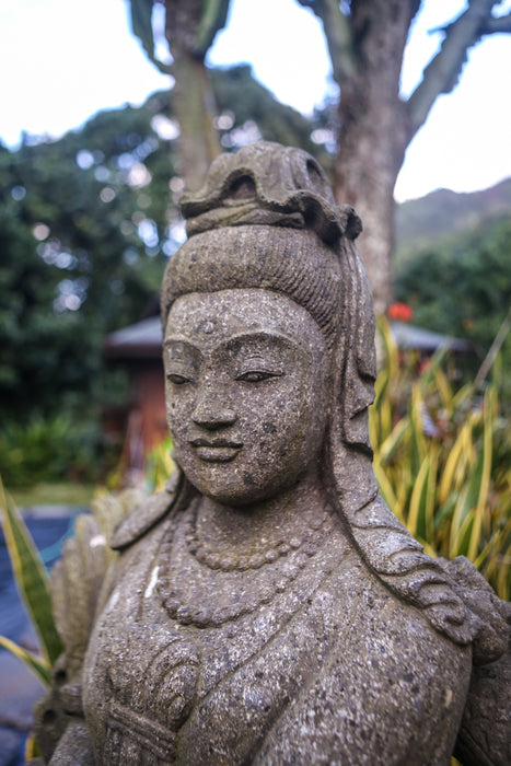 Guan Yin face hand carved statue large stone Indonesian