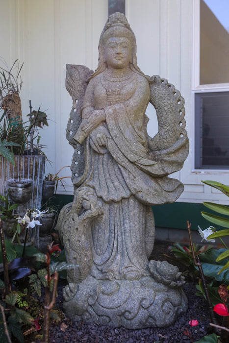 Large Quan Yin statue hand carved stone Buddhist Indonesian