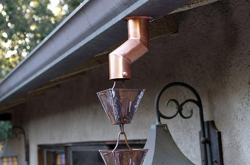 copper rain chain downspout diverter