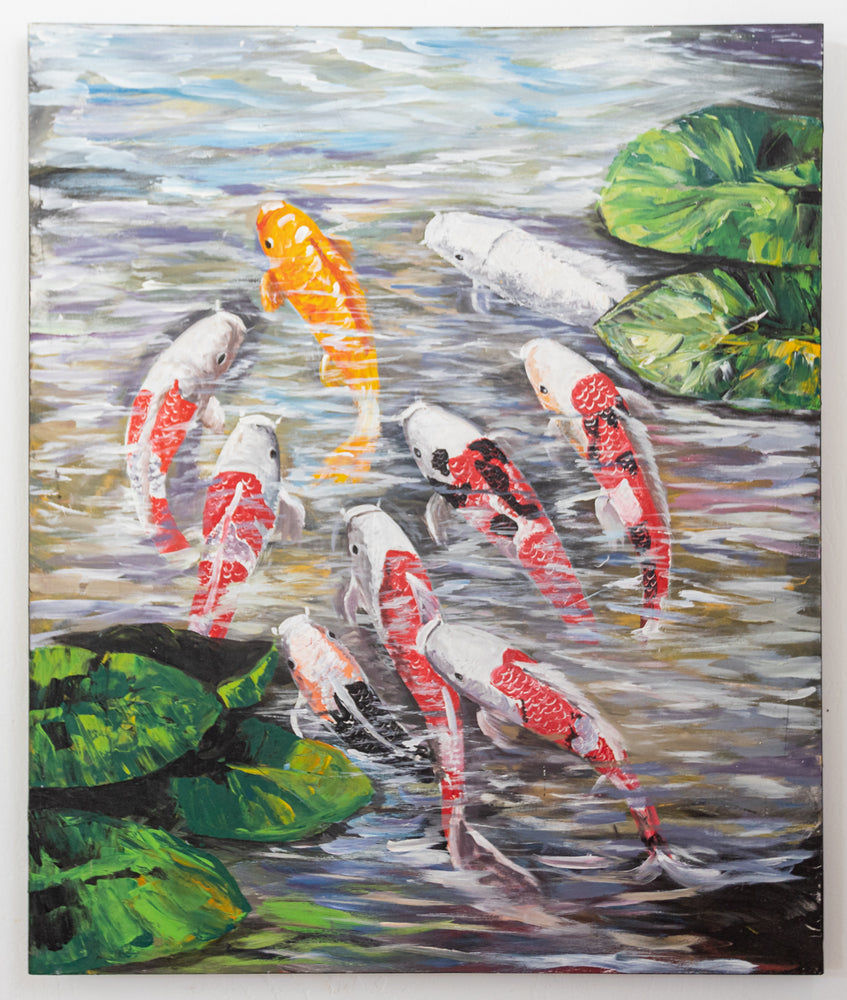 koi fish pond leaves painting original oil canvas orange white gold black green artwork
