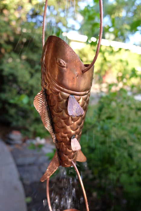 Large koi fish solid copper rain chain